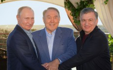 Meeting with the Russian Federation President Vladimir Putin and the President of Uzbekistan Shavkat Mirziyoyev